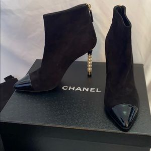 Chanel black pearl booties